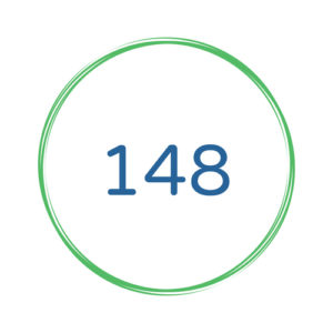 the number 148 in a green circle